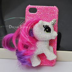 Little horse Pony with colorful hair cute phone case for iPhone4/4S or for iPhone 5. $22.00, via Etsy.