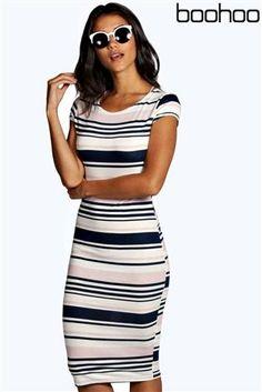 Buy Boohoo Stripe Midi Bodycon Dress from the Next UK online shop