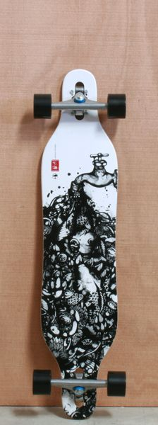 """Arbor 40"""" Axis Bamboo Longboard Complete          Something about white boards <3"""