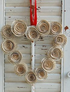 "Valentine Wreath- Vintage Book Paper Roses 9"" - from etsy Roseflower 48"