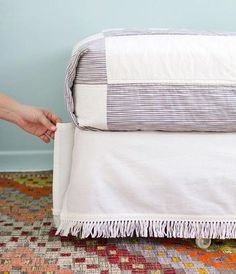 easy and inexpensive velcro bedskirt tutorial Ikea Bekvam, Ikea Spice Rack, Home Budget, Organization Hacks, Kitchen Organization, Organizing, Bed Frame, Sewing Hacks, Bed Pillows