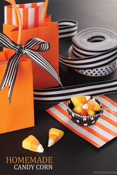 Get this easy-to-make homemade candy corn recipe for Halloween and enjoy making this tasty DIY treat with the kids and trick-or-treaters! Candy Recipes, Sweet Recipes, Holiday Recipes, Thanksgiving Recipes, Drink Recipes, Dessert Recipes, Halloween Cakes, Halloween Treats, Halloween Party