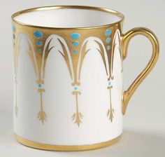 """""""Gothic"""" china pattern with gold & turquoise blue accents from Royal Chelsea."""