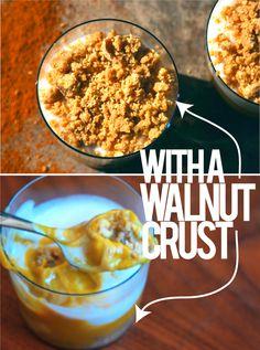 vegan pumpkin pudding with walnut crumble.