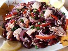 Salata de ton cu fasole rosie Healthy Salad Recipes, Baby Food Recipes, Diet Recipes, Vegetarian Recipes, Cooking Recipes, Cold Vegetable Salads, Helathy Food, Avocado Salat, Sushi