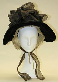 Bonnet (Poke Bonnet)  Date ca. 1835 (Something Margery Rust might wear o a rare shopping trip...