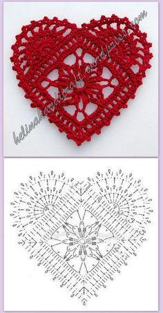 Crochet Heart Motif - Free Crochet Diagram - Then just add your…pretty crochet heart by Stoeps; i like the miniature flower budsDiscover thousands of images about pretty crochet heartPatrones Crochet Corazones San Valentin - Crochet and KnitDelicad Crochet Diagram, Crochet Chart, Thread Crochet, Crochet Flower Patterns, Crochet Flowers, Knitting Patterns, Crochet Doilies, Crochet Granny, Amigurumi Patterns