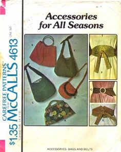 McCall's 4613 Vintage Sewing Pattern Accessories Bags & Belts by McCall's, http://www.amazon.com/dp/B005O71HRY/ref=cm_sw_r_pi_dp_4r9Lrb0G7QWRM
