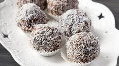 Two delicious refined-sugar-free recipes that are perfect for going straight from freezer to lunchbox. Chocolate Nut Bliss Balls and Nadia Lim's Coconut Bread. Sugar Free Baking, Sugar Free Recipes, School Lunch Recipes, School Lunches, Real Food Recipes, Dessert Recipes, Baking Recipes, Coconut Balls, Rum Balls