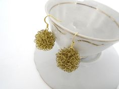 Golden brass wire wrapped ball earrings dandelion gold by anta on etsy.com
