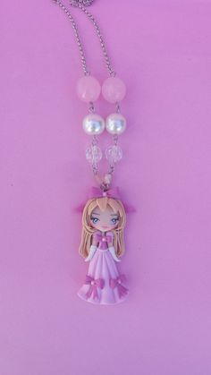 Polymer clay necklace girl pink polymer clay by Artmary2 on Etsy