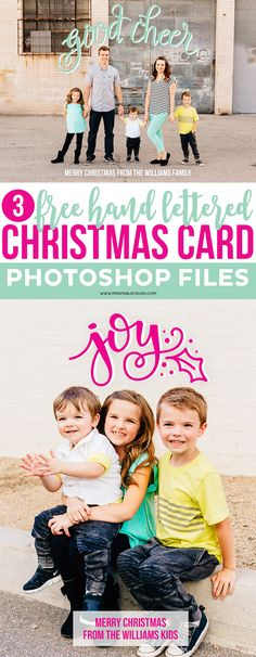 Create the Perfect Hand Lettered Christmas Card with these 3 FREE Photoshop Layer Files! You can customize the colors and greeting text!