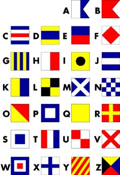 The Alphabet in Nautical Flags. Paint distressed wood squares to spell name.would be soooo cute for my new baby cousin for his nautical room! Nautical Signs, Nautical Flags, Nautical Cards, Nautical Quilt, Nautical Prints, Nautical Flag Alphabet, Nautical Nursery, Nautical Home, Nautical Christmas