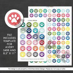 Planner Stickers, Digital Download, Printable, Paw Print, Animals, Pets, Plum Planner, Erin Condren