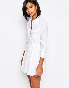 rewardStyle,Vero Moda Drawstring Waist Shirt Dress - White
