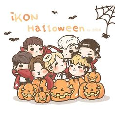 [fanart] Halloween with Happy Halloween 🎃👻 Ikon Kpop, Ikon Wallpaper, Kpop Fanart, Yg Entertainment, Webtoon, Bigbang, One Pic, Boy Bands, Happy Halloween