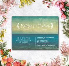 Printed Card  Digital Printable Files  Blue Teal Sand Beach