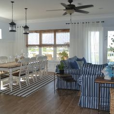 Blues and whites were used to give the rooms a clean beach feel without over doing it with beach themed decor.