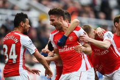 Two goals by Olivier Giroud. Newcastle United 1-2 Arsenal (March 2015)