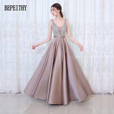 BEPEITHY 2017 New Arrival Elegant Evening Dresses V-Neck Backless Beads Formal Party Dress Vestidos De Festa #Affiliate