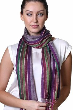 Women's Jewel Shimmer Multicolor Stripe Scarf, Metallic Pashmina Shawl (Purple) Plaid Fashion, Stripes Fashion, Fashion Scarves, Women's Fashion, Floral Fashion, Purple Scarves, Striped Scarves, Thing 1, Pashmina Shawl