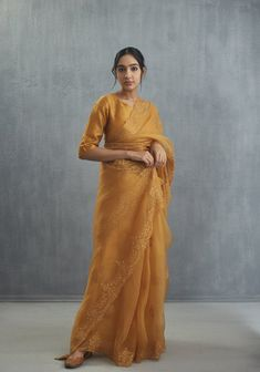 Fabric: Silk Organza Machine And hand Embroidery Shipped days Care- Dry clean only Trendy Sarees, Stylish Sarees, Saree Draping Styles, Saree Styles, Indian Wedding Outfits, Indian Outfits, Organza Saree, Silk Organza, Silk Sarees