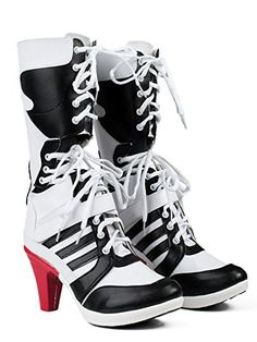 Dress your own style as Harley Quinn,Suicide Squad Harley Quinn Womens Cosplay Shoes White PU Pleather High Heel Boots. Dress your own style as Harley Quinn. All products are quality checked. Joker Et Harley Quinn, Harley Quinn Halloween, Harley Quinn Cosplay, Halloween Cosplay, White High Heel Boots, White Shoes, High Heels, Black Boots, Suicide Squad