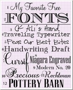 My Favorite Free Fonts by TinyCarmen
