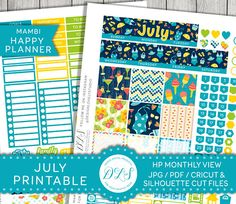 July Monthly Printable Planner Stickers for Happy Planner
