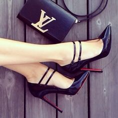 Bomb Black LV Purse & Louboutin Heels