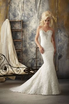 Mori Lee  TAGS:Embroidered, Fishtail, Floor-length, Strapless, Train, White, Ivory, Mori Lee, Lace, Retro (Vintage)