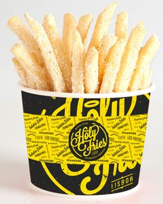 Holy Fries on Branding Served Wings Restaurant, Logo Restaurant, Fries Packaging, Food Packaging, Food Branding, Logo Food, Mr Fries, Chalkboard Restaurant, Chips