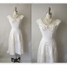 50's Wedding Dress // Vintage 1950's White Cut-Out Organdy Linen Casual Wedding Dress XS. $184.00, via Etsy.