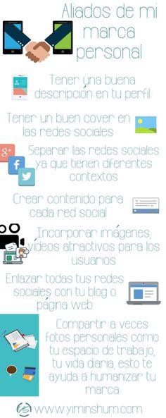Aliados de mi marca personal: claves para el éxito. Infografía en español. #CommunityManager