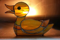 anatra gialla yellow duck tiffany stained glass