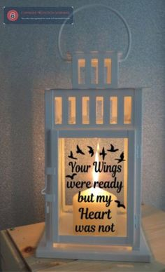 Personalised Led Candle Lantern Quote Memorial Heaven
