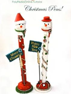 Video Tutorial: Clay Christmas Pens · Polymer Clay | CraftGossip.com - Cute tutorial from Iris Mishly!