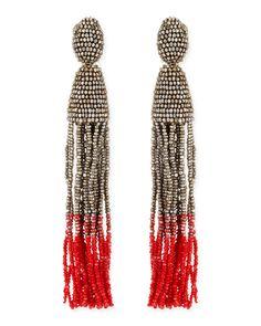 Oscar de la Renta Long Ombre Bead Tassel Clip-On Earrings, Silver/Pink - Neiman Marcus