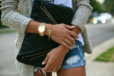 sweater, gold, and denim