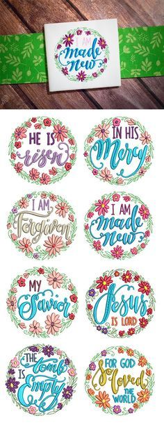 Our Floral Wreaths Faith set features 8 beautiful floral wreaths surrounding inspiring words of faith  Includes: 4 sizes: 4x4, 5x7, 6x10, and 8x8