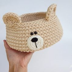 Bear nursery basket, Woodland basket, Crochet storage bear head basket, Woodland bear decor for nursery Bear nursery basket Woodland basket Crochet storage bear Crochet Amigurumi, Crochet Bear, Hand Crochet, Bear Rug, Crochet Storage, Home Decor Baskets, Bear Nursery, Bear Decor, Nursery Decor