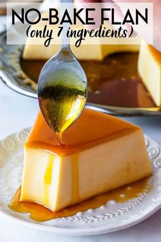 No-Bake Flan with caramel on top. Easy to make, 7 ingredients, no oven Caramel Flan, no eggs. Super delicious and creamy! No Bake Desserts, Easy Desserts, Delicious Desserts, Dessert Recipes, Yummy Food, Flan Dessert, Caramel Flan, Caramel Recipes, Best Flan Recipe