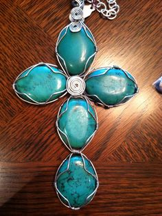 Wire-wrapped Turquoise Cross Pendant