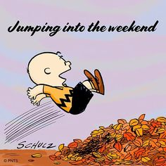 Jumping into the weekend! Charlie Brown Christmas, Charlie Brown And Snoopy, Cartoon Caracters, Disney Cartoon Characters, Peanuts Characters, Weekend Quotes, Weekend Humor, Morning Quotes, Snoopy Quotes