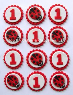 Fondant Cupcake Toppers Ladybugs by TopItCupcakes on Etsy