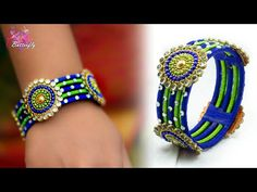 Make an awesome new bangle from old glass bangles Silk Thread Earrings Designs, Silk Thread Bangles Design, Silk Bangles, Bridal Bangles, Thread Jewellery, Fabric Jewelry, Jewelry Art, Tatting Jewelry, Handmade Jewelry Designs