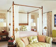 Peter Dunham ~ cheerful and inviting bedroom with stripes, prints and solid fabrics