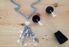 Crystal Multi-Chain silver tassel necklace by BlkBttrflyDsgns