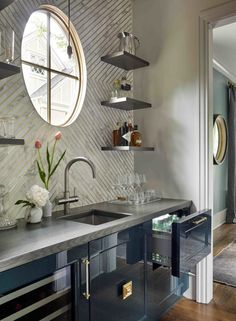 Glossy blue kitchen bar cabinets with gray wood countertops and white and gold chevron backsplash Beautiful Kitchens, Beautiful Homes, House Beautiful, Layout Design, Tile Design, Design Ideas, Wood Bar Top, Classic Kitchen, Wood Countertops