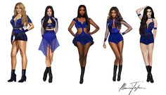 "For the ""Reflection"" tour, Fifth Harmony will be wearing their first-time ever custom-designed costumes by Marina Toybina. Halloween Costume Videos, Halloween Costumes For Teens, Cool Costumes, Dance Costumes, Stage Outfits, Dance Outfits, Casual Outfits, Cute Outfits, Fifth Harmony"